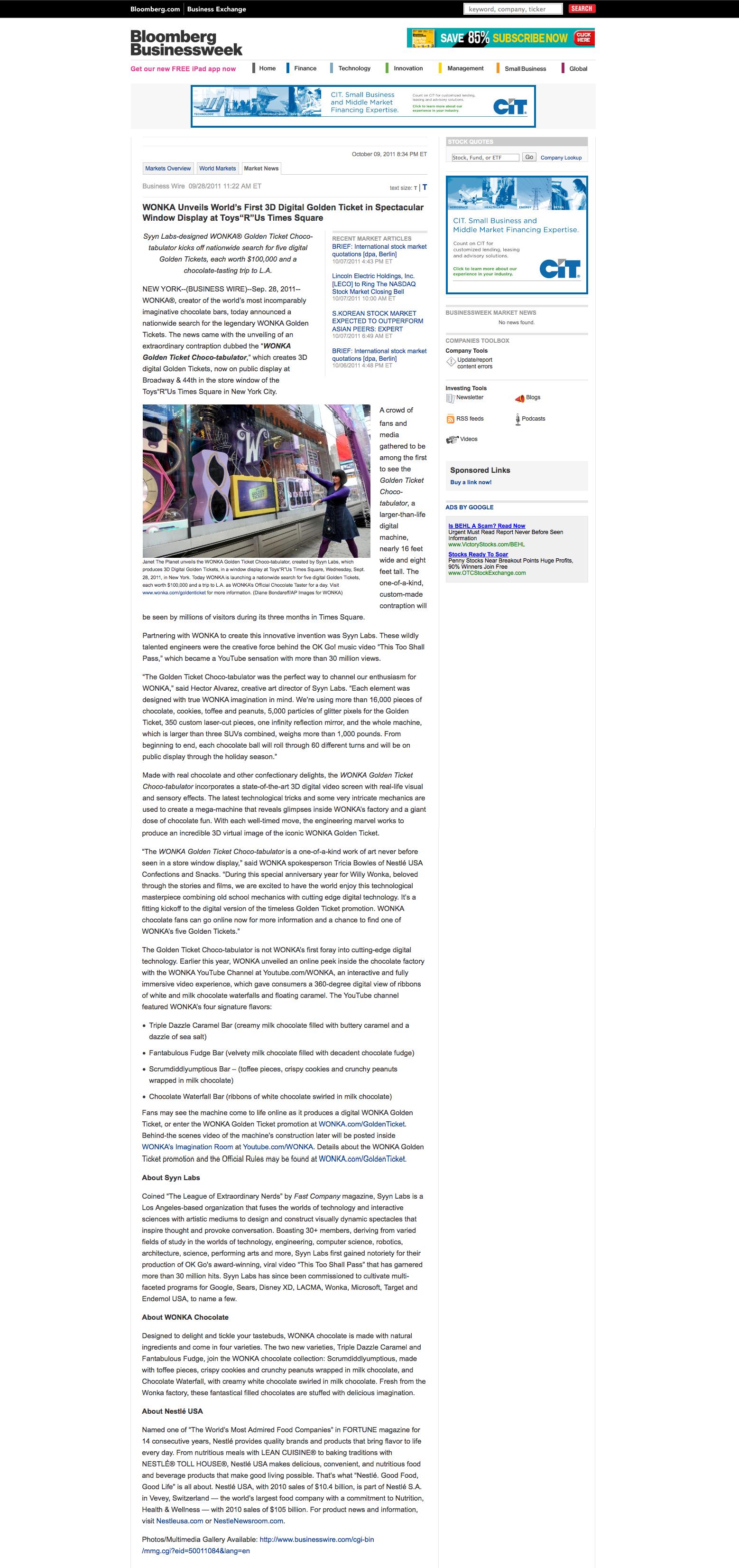 Bloomberg Businessweek – Wonka Unveils First 3D Digital Golden Ticket